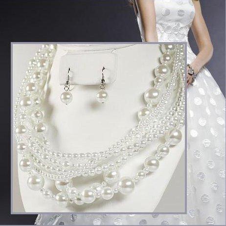 collier parure de bijoux mariage perle blanche par un jour sp cial accessoires d corations. Black Bedroom Furniture Sets. Home Design Ideas