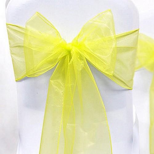 noeud de chaise mariage organza jaune x 10 un jour sp 233 cial