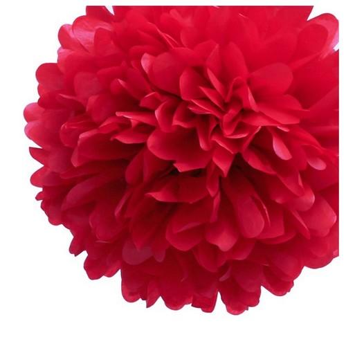 Boule pompon papier de soie rouge 50 cm d co mariage un for Boule de papier deco