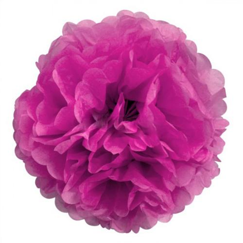 3 pompons fleurs en papier de soie fuschia 25 cm. Black Bedroom Furniture Sets. Home Design Ideas