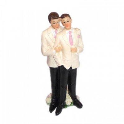 accessoires de mariage decoration figurine couple hommes smoking blanc - Figurine Mariage Gay