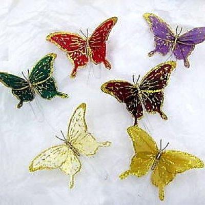 Papillon plume sur tige 15 cm d coration mariage lot de for Papillon decoration