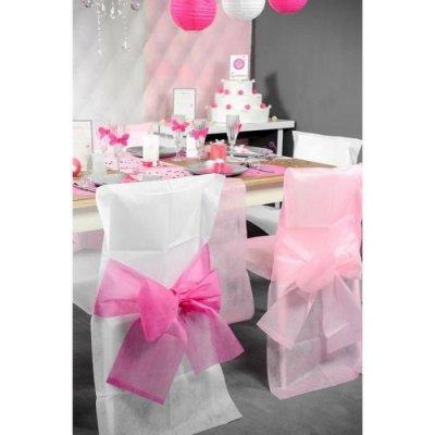 Housses de chaise blanche et noeud rose fuchsia lot de 10 for Housses de chaises blanches