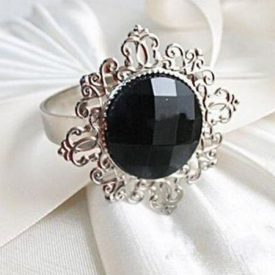 Bague Diamant Rouge Ronds de Serviette de Table Décoration Mariage
