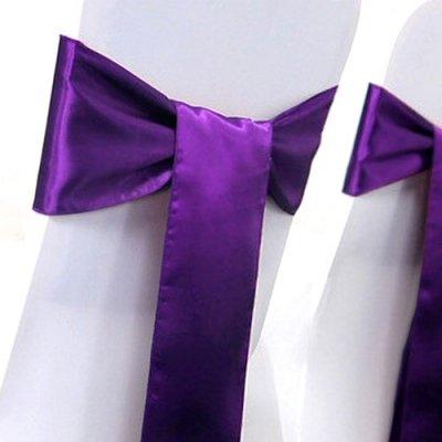 noeud de chaise mariage satin violet par un jour sp cial accessoires d corations de mariage. Black Bedroom Furniture Sets. Home Design Ideas