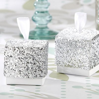boite dragees glitter paillettes argent d co mariage un jour sp cial. Black Bedroom Furniture Sets. Home Design Ideas