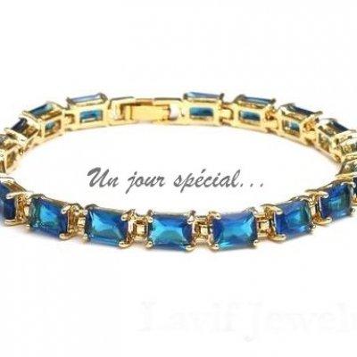 Bracelet Femme Bijoux Plaqué Or Cristal Bleu