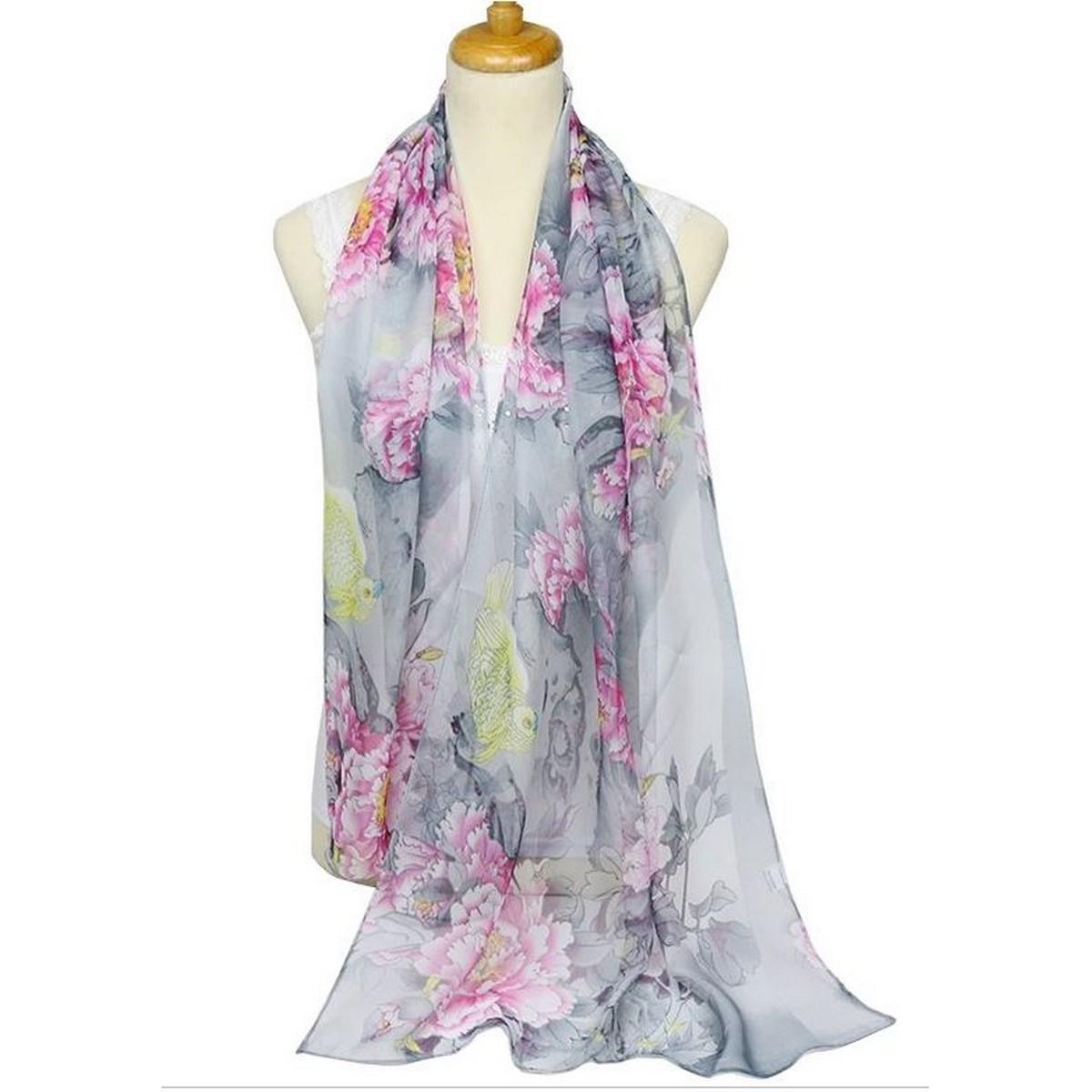 Mariage et Accessoires - Foulard écharpe étole gris-rose à fleurs en  mousseline . 9d37a8b145b