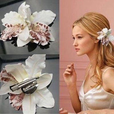 pince cheveux fleur orchid e ou broche pas cher. Black Bedroom Furniture Sets. Home Design Ideas