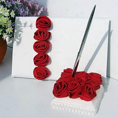 livre d 39 or mariage porte stylo satin cr me rosette rouge. Black Bedroom Furniture Sets. Home Design Ideas