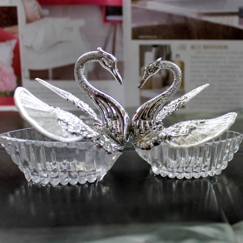 cygne argent boite contenant a dragee mariage lot de 10 - Contenant Drage Mariage