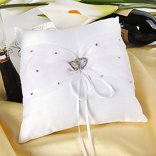 Mariage et Accessoires  - Coussin Alliance Mariage Double Coeur Strass : illustration