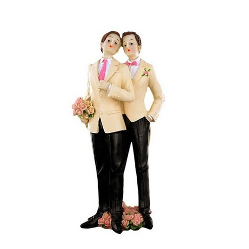 Decoration Mariage  - Figurine Mariage Couple Hommes Smoking Blanc : illustration