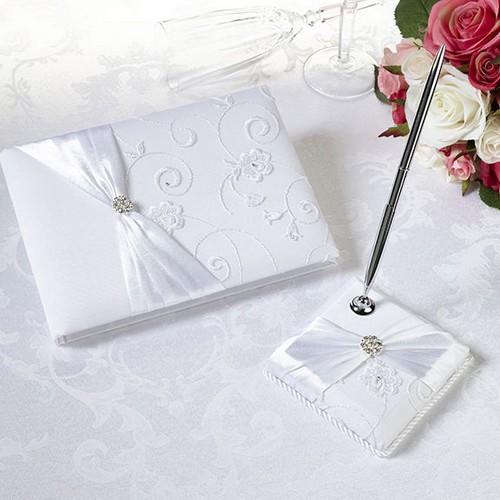 livre d 39 39 or et stylo mariage satin blanc cristal pas cher un jour sp cial. Black Bedroom Furniture Sets. Home Design Ideas