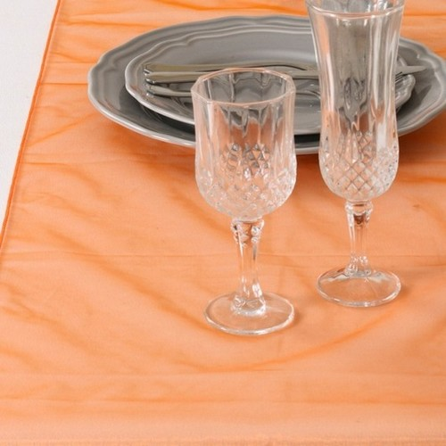 Décoration de Table  - Chemin de Table Mariage Organza Orange (Lot de 5) : illustration