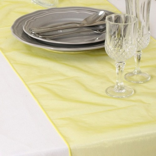 Décoration de Table Mariage  - Chemin de Table Mariage Organza Jaune (Lot de 5) : illustration