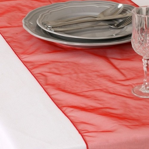Décoration de Table  - Chemin de Table Mariage Organza Rouge (Lot de 5) : illustration