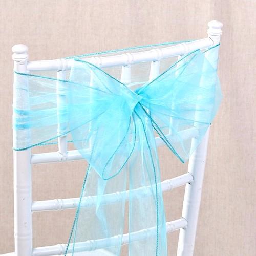 Noeud de chaise mariage organza bleu aqua x 10 un jour - Noeuds de chaise mariage ...