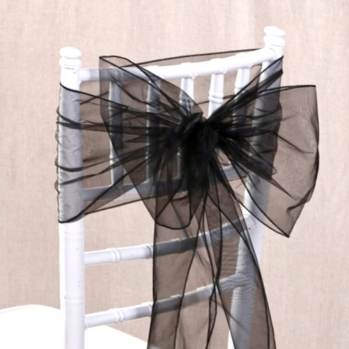 1 noeud de chaise mariage organza noir pas cher noeud pour housse de chaise. Black Bedroom Furniture Sets. Home Design Ideas