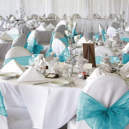 Noeud De Chaise Mariage Organza Turquoise X 10