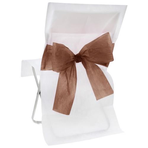 housse de chaise blanche noeud chocolat x10 d co salle mariage un jour sp cial. Black Bedroom Furniture Sets. Home Design Ideas