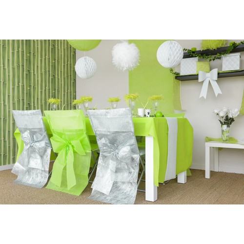 housses de chaise mariage vert anis avec noeud lot de 8. Black Bedroom Furniture Sets. Home Design Ideas