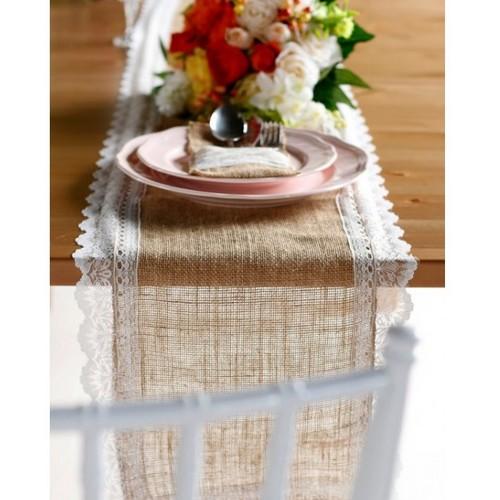 Top Chemin de table toile de jute - Décoration de mariage YO97