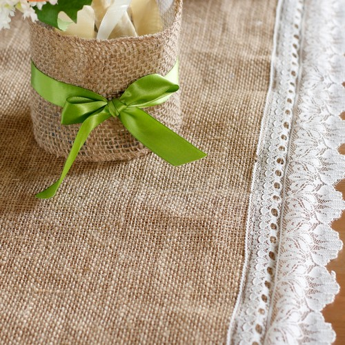 chemin de table toile de jute d coration de mariage. Black Bedroom Furniture Sets. Home Design Ideas
