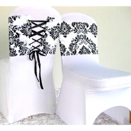 noeud de chaise mariage corset baroque noir et blanc x 10 un jour sp cial. Black Bedroom Furniture Sets. Home Design Ideas