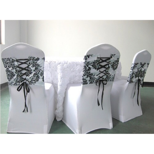 noeud de chaise mariage corset baroque noir et blanc x 10 un jour sp cial. Black Bedroom Furniture Sets. Home Design Ideas