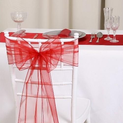 noeud de chaise mariage organza rouge x 10 un jour sp cial. Black Bedroom Furniture Sets. Home Design Ideas