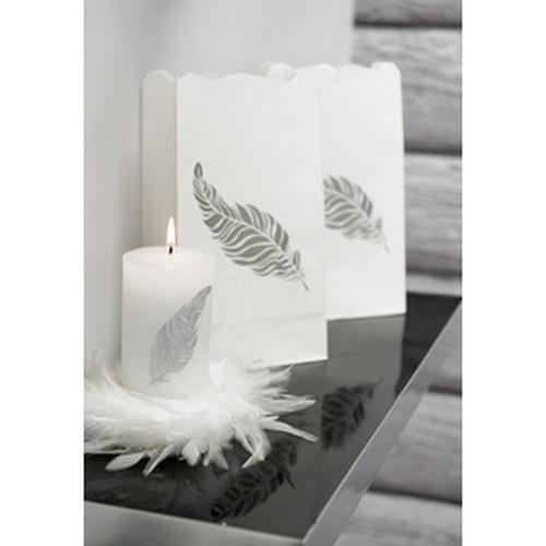 bougie noir cylindrique plume argent mariage d co de table accessoires mariage. Black Bedroom Furniture Sets. Home Design Ideas