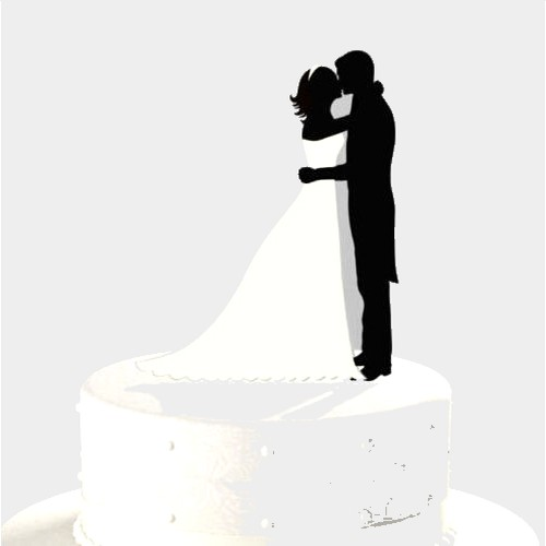 Figurines Mariage  - Figurine mariage silhouette couple qui s'embrasse ... : illustration