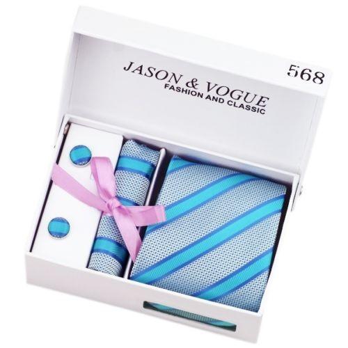 coffret cadeau ensemble cravate homme pochette boutons de manchette bleu. Black Bedroom Furniture Sets. Home Design Ideas