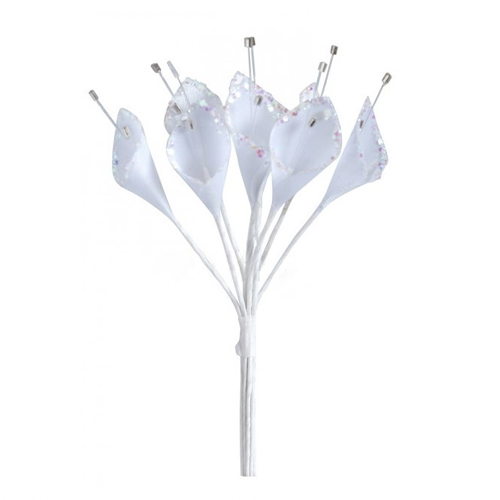 Décoration de Table Mariage  - Lot de 12 arums pailletées blanches : illustration