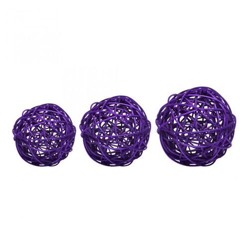 Boule rotin tailles assorties violettes prune ( lot de 9 )