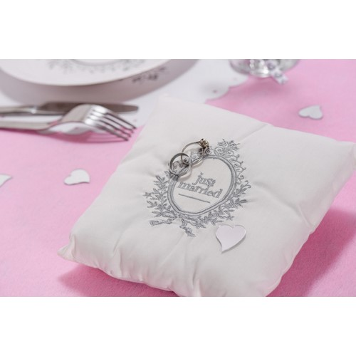 Coussin d'alliances blanc Just Married par Un Jour Spécial ... - Photo 1