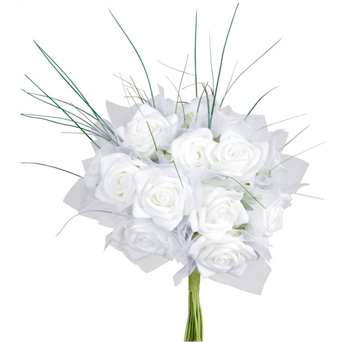 bouquet de la mari e 18 roses blanches. Black Bedroom Furniture Sets. Home Design Ideas