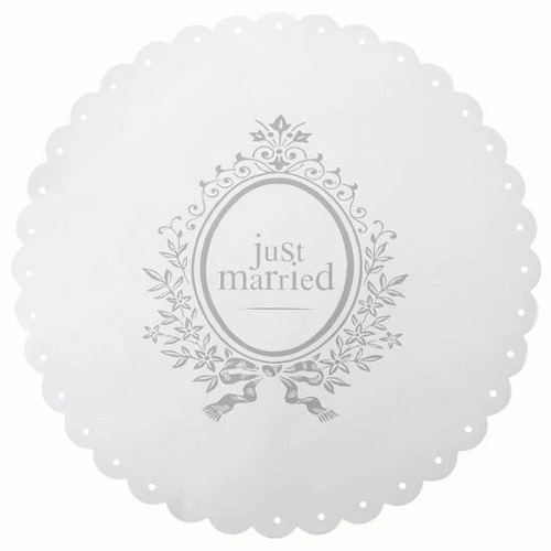 6 Sets de Table Ronds Just Married Blanc