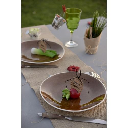 Rouleau de chemin de table en jute serr e coloris naturel - Chemin de table toile de jute pas cher ...