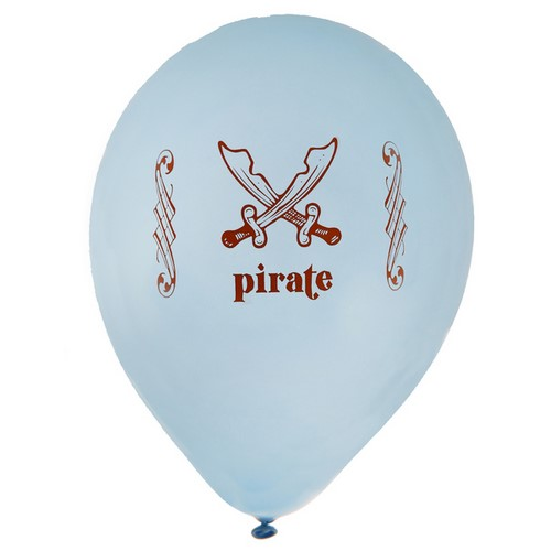 ARCHIVES  - 8 ballons gonflables Pirate bleu ciel : illustration