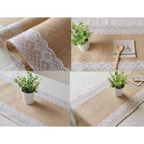 chemin de table toile de jute et dentelle d coration de mariage. Black Bedroom Furniture Sets. Home Design Ideas