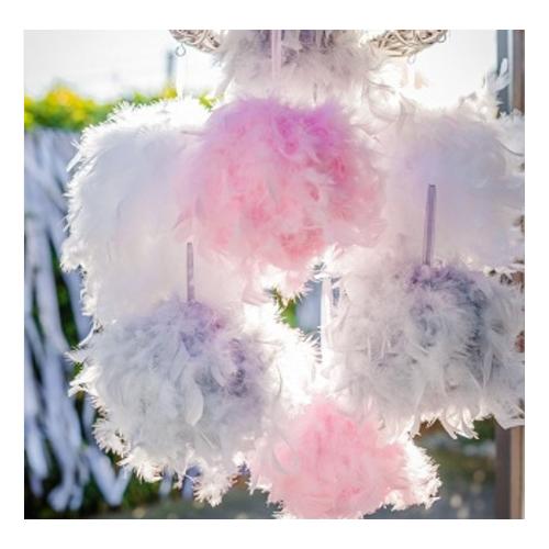 Boule plumes grise 20 cm pas cher suspension boule mariage for Suspension plume pas cher