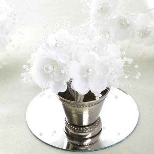 fleurs d corative en tissu blanc et perles pas cher mariage bapteme communion. Black Bedroom Furniture Sets. Home Design Ideas