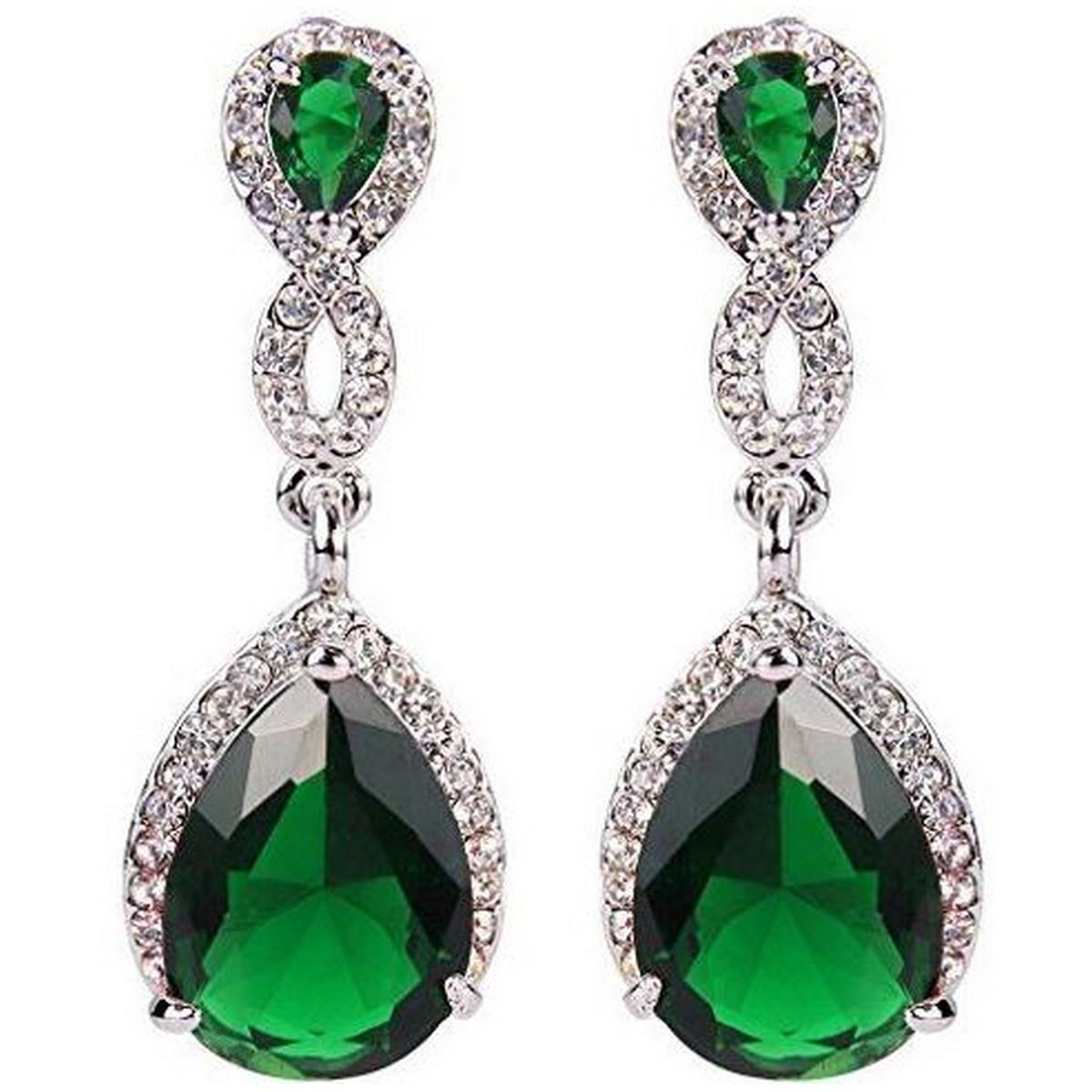 ... Parure Bijoux Mariage Ton Argent Zirconium Vert Emeraude par Un Jour  Spécial ... - 31f15d398b97