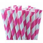 25 Pailles rayures blanche et rose fuchsia - deco candy bar