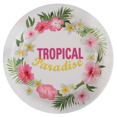 assiettes tropical paradise en carton vaisselle jetable pour d co de mariage th me exotique. Black Bedroom Furniture Sets. Home Design Ideas