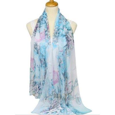 7858ce0ce13e Foulard écharpe étole bleu clair à fleurs en mousseline de soie