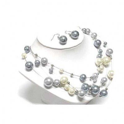 parure collier bijoux mariage mari e argent perle gris et ivoire anushka un jour sp cial. Black Bedroom Furniture Sets. Home Design Ideas