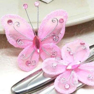 Papillon rose d coration de table mariage bapteme lot de for Decoration 5 ans de mariage